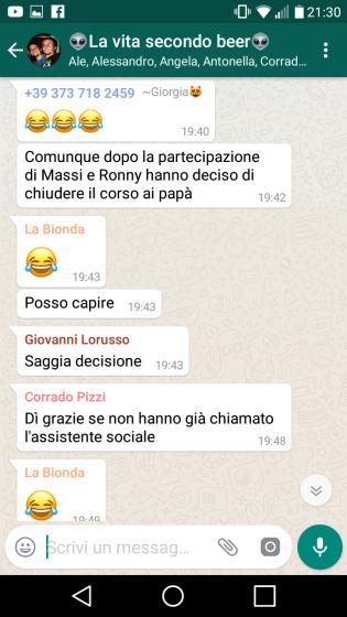 screenshot, whatsapp, corso pre parto, dialoghi divertenti