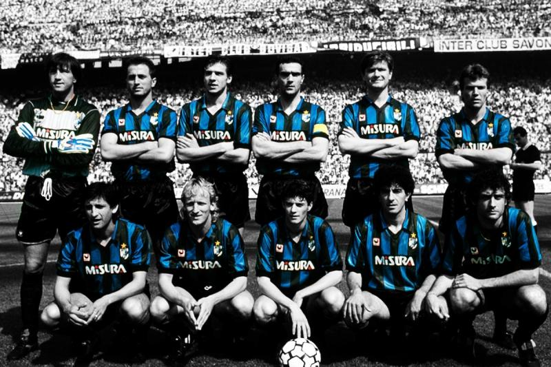 Inter, 1988, 1989, Zenga Ferri, Berti, Bergomi, Serena, Matthaeus, Diaz, Brehme, Bianchi, Matteoli, Mandorlini